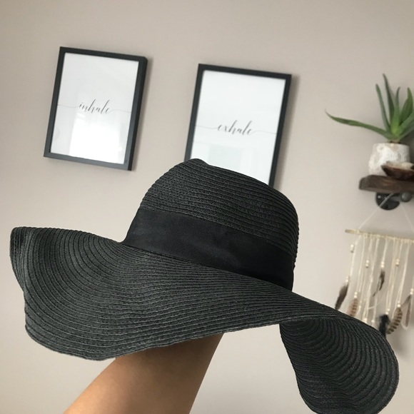 3a1c2534 Zara Accessories | Floppy Black Hat Straw Summer Hat | Poshmark